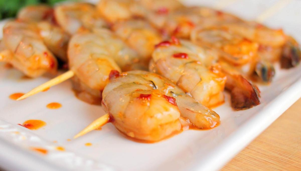 Espetadas de camarão